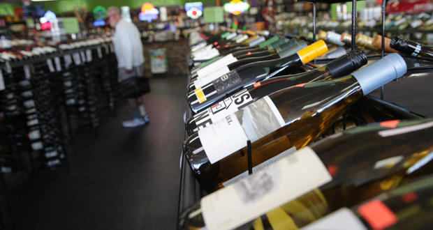 Bottles of wine are displayed on shelves at Market Beverage Co., 204 S. Littler Ave. in Edmond.