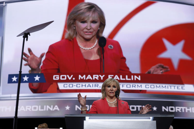 Gov. Mary Fallin speaks during first day of the Republican National Convention in Cleveland, Monday, July 18, 2016.