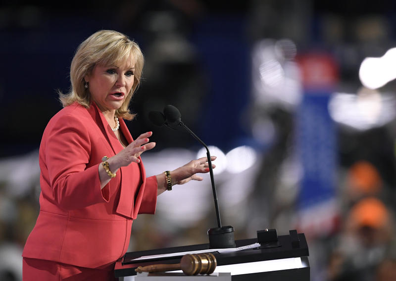Gov. Mary Fallin, R-Okla., addresses the delegates during the opening day of the Republican National Convention in Cleveland, Monday, July 18, 2016.