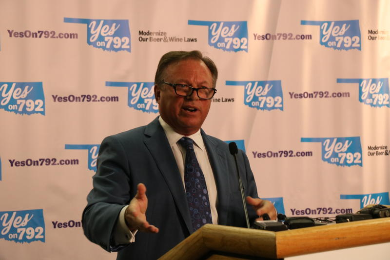Yes on 792 chairman Jeff Reasor speaks at a press conference on July 27, 2016. Reasor is the chairman and CEO of Tahlequah-based grocery store chain Reasor's.
