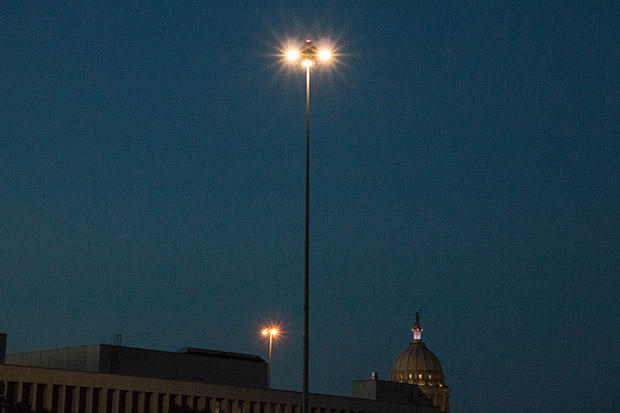 Oklahoma Department of Transportation engineers are testing an LED interchange light tower in the parking lot of the agency's Oklahoma City headquarters.