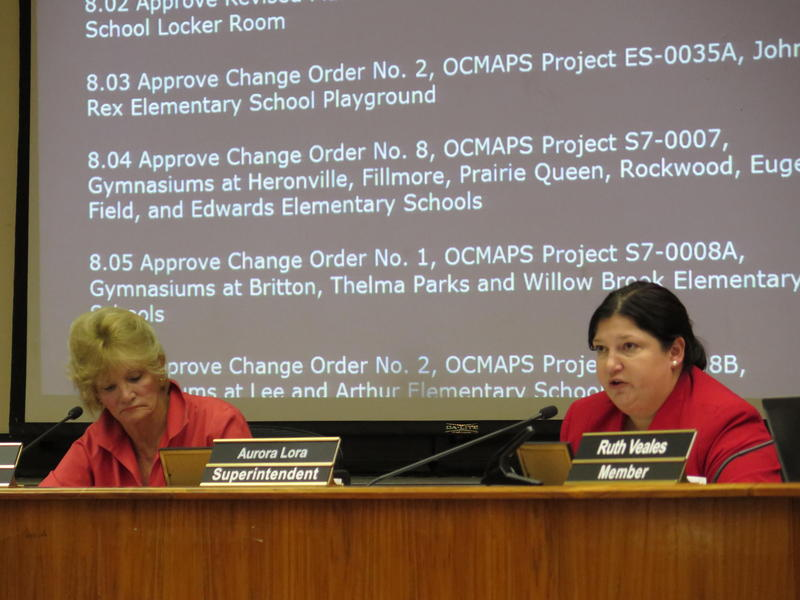 Oklahoma City Public Schools superintendent Aurora Lora proposes a revised KIPP charter school expansion plan during a July 18, 2016 board meeting.