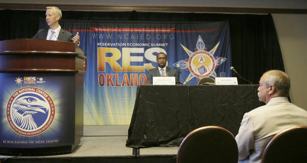 Steve Hahn, president of AT&T Oklahoma, speaks at the Reservation Economic Summit in Tulsa Tuesday.
