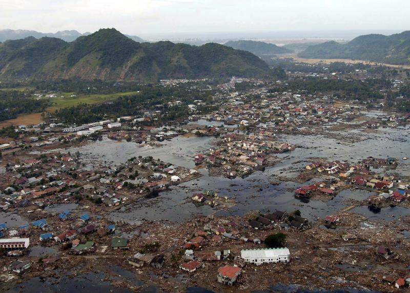 A village near the coast of Sumatra lays in ruin after the Tsunami that struck Southeast Asia