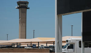 The control tower at Will Rogers World Airport in Oklahoma City.