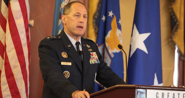 Lt. Gen. Lee Levy II, sustainment commander at Tinker Air Force Base, addresses the audience during the Greater Oklahoma City Chamber's Tinker Leadership Community luncheon Friday at the Skirvin Hilton Hotel in Oklahoma City.