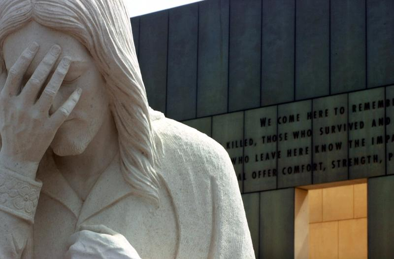 "The statue known as ""Jesus Wept"" near the Oklahoma City National Memorial."