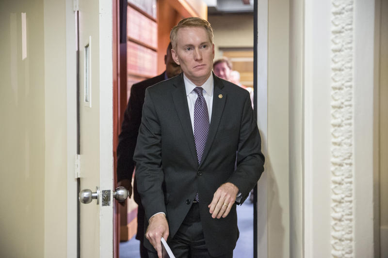 Sen. James Lankford R-Okla. arrives for a news conference on Capitol Hill in Washington, Monday, Nov. 30, 2015