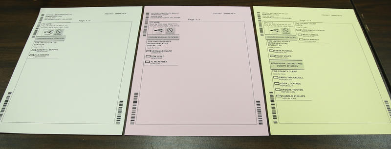 Color-coded ballots for each Oklahoma County district are pictured at the Oklahoma County Board of Elections in Oklahoma City, Thursday, June 23, 2016. The ballots are color-coded according to party.
