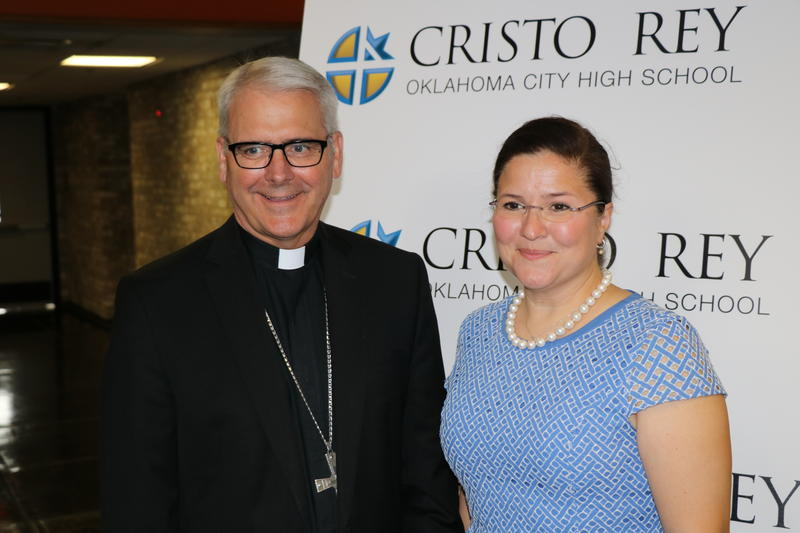 Archdiocese of Oklahoma City Archbishop Paul Coakley and Renee Alvarado Porter at the announcement for the new Cristo Rey high school on Aug. 4, 2016.
