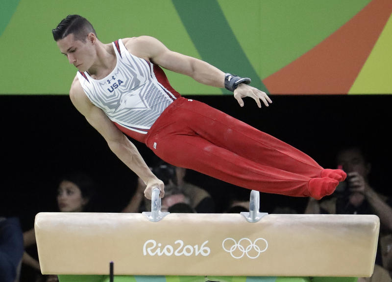 United States' Alexander Naddour performs on the pommel horse during the artistic gymnastics men's apparatus final at the 2016 Summer Olympics in Rio de Janeiro, Brazil, Sunday, Aug. 14, 2016.