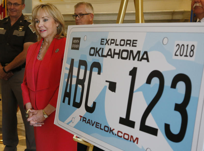 Gov. Mary Fallin speaking during an August 22, 2016 news conference to reveal a new design for the state license plate in Oklahoma City.