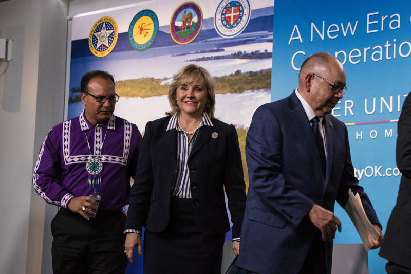 Choctaw Nation Chief Gary Batton, Oklahoma Gov. Mary Fallin and Chickasaw Nation Gov. Bill Anoatubby at a news conference announcing the water deal.