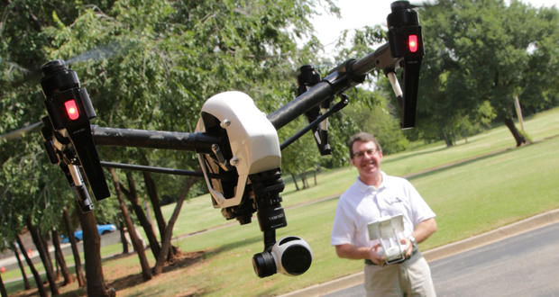 Tom Kilpatrick, founder of CloudDeck Media and the Oklahoma Aviation testing center, pilots a drone.