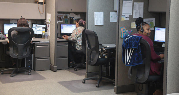 Call specialists answer HeartLine Inc.'s various helplines inside the organization's call center in Oklahoma City.