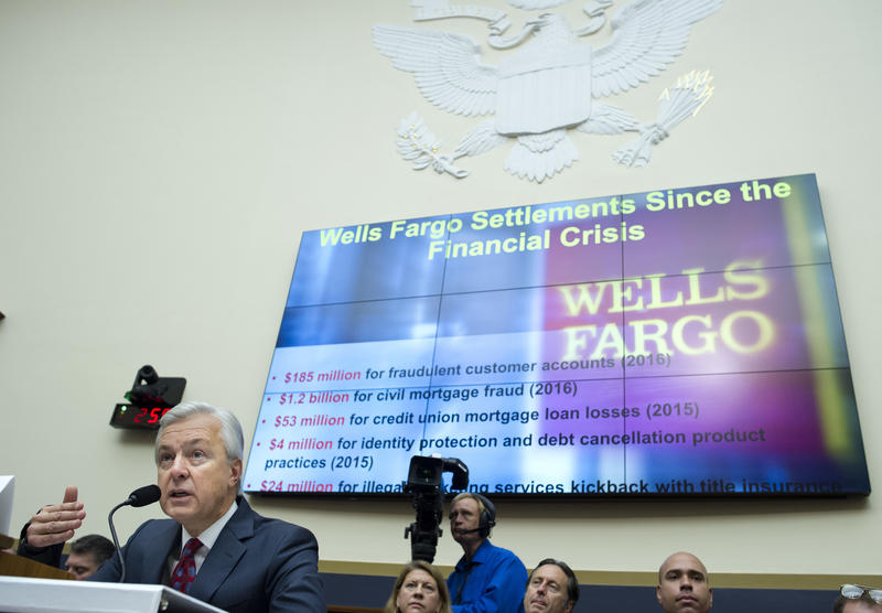 Wells Fargo CEO John Stumpf testifies on Capitol Hill in Washington, Thursday, Sept. 29, 2016, before the House Financial Services Committee investigating Wells Fargo's opening of unauthorized customer accounts.