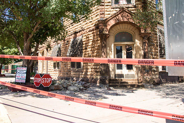 A 5.8-magnitude earthquake damaged the facade of a brick building in the city of Pawnee, Okla.