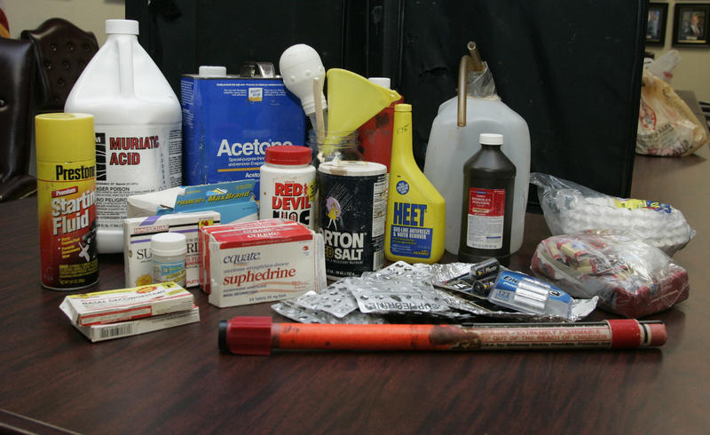 "In this photo taken Friday, Aug. 14, 2009, a display of items used in the ""shake-and-bake"" method of manufacturing methamphetamine is shown at the Oklahoma Bureau of Narcotics in Oklahoma City."