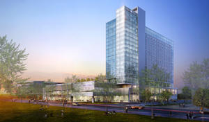 An artist's conception of a proposed hotel that would be attached to downtown Oklahoma City's new convention center.