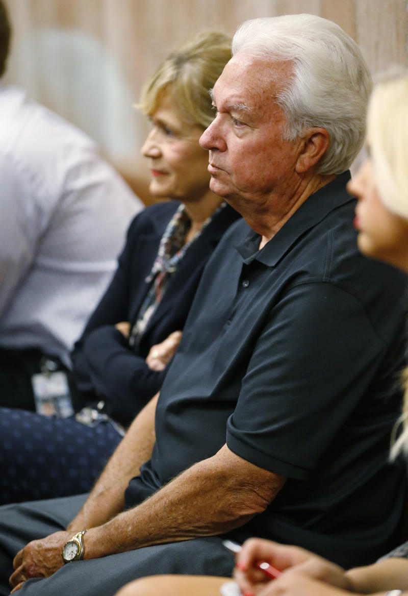 Dr. Larry Burns sits in a courtroom as he waits for a hearing to begin in Oklahoma City, Thursday, July 9, 2015.