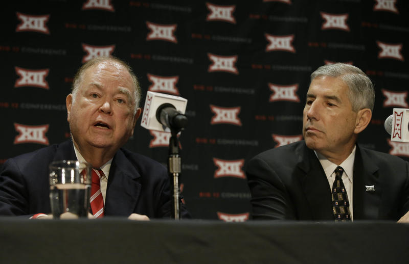 University of Oklahoma president David Boren (left) speaks as Big 12 Commissioner Bob Bowlsby looks on during a news conference after The Big 12 Conference meeting in Grapevine, Texas, Monday, Oct. 17, 2016.