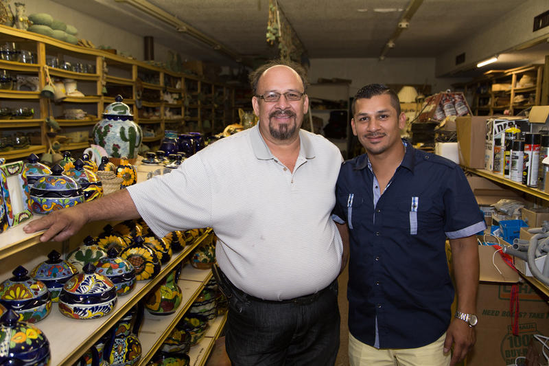 Santiago and Marco Arzate in the back room of their storefront property on Southwest 25th Street in Oklahoma City.