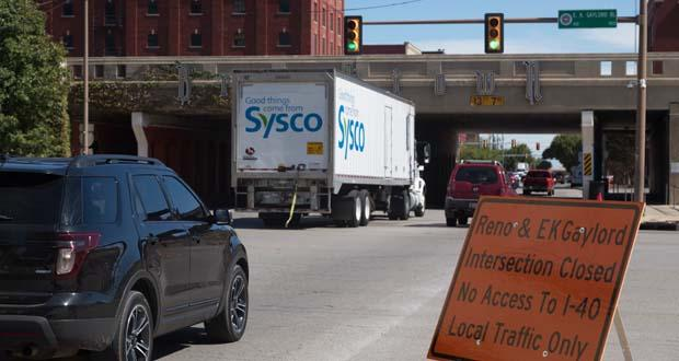 A road sign informs motorists of the closure of the intersection of Reno Avenue and E.K. Gaylord Boulevard in downtown Oklahoma City.