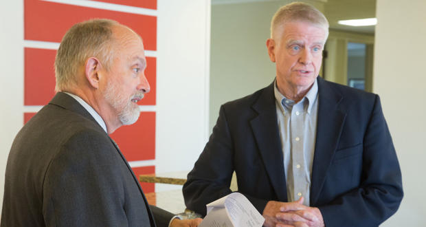 Bob Nance and Gary Watts, attorneys for eight Oklahoma school districts that successfully sued to have the Oklahoma Tax Commission change how it calculates motor vehicle tax disbursement.