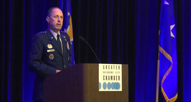 Lt. Gen. Lee K. Levy II speaks at the Greater Oklahoma City Chamber's State of Aerospace luncheon Tuesday at the Embassy Suites Oklahoma City Downtown/Medical Center.