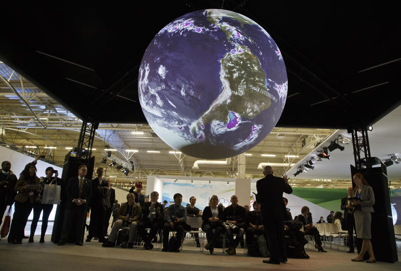 "Participants attend a panel entitled ""Science on a Sphere Presentation""at the COP21, United Nations Climate Change Conference, in Le Bourget, north of Paris, Dec. 8, 2015."