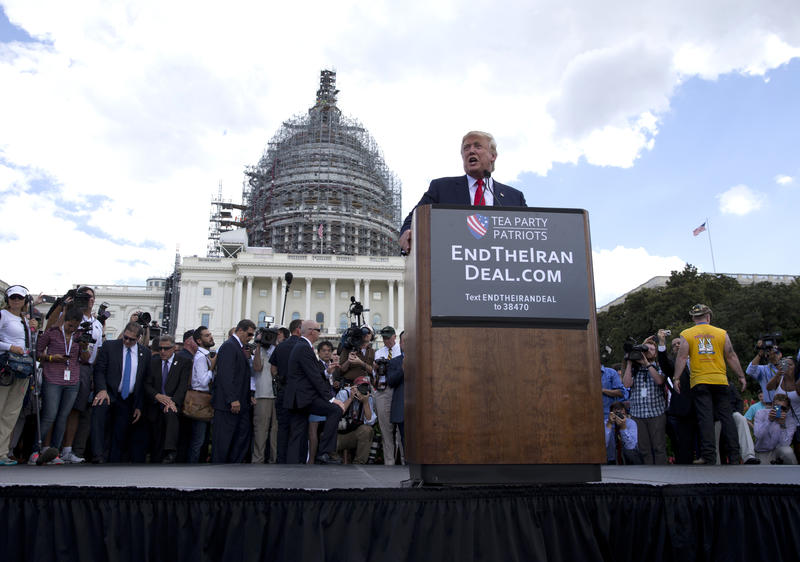 Then-Republican presidential candidate Donald Trump speaks at a rally organized by Tea Party Patriots on Capitol Hill, Sept. 9,2015, to oppose the Iran nuclear agreement.