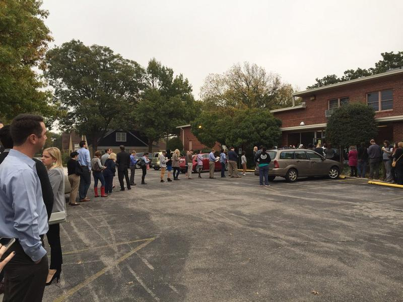 A line forms outside the Crown Heights Christian Church in Oklahoma City shortly after 8 a.m. on Election Day.