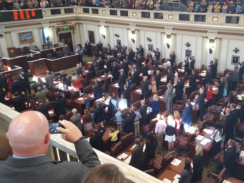 Oklahoma Supreme Court Chief Justice John Reif administers the oath of offices to all 101 members of the Oklahoma House of Representatives at the state Capitol Wednesday.