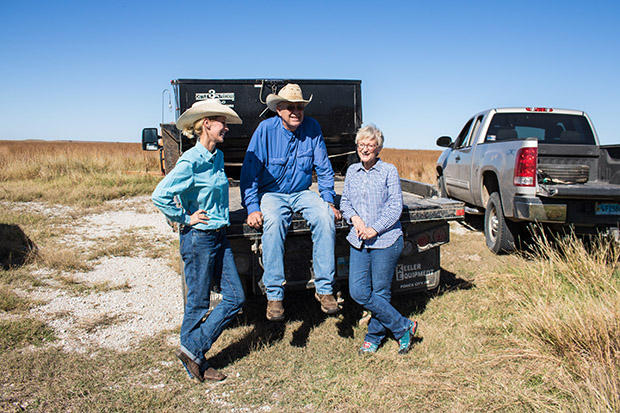 Sarah Vap and her parents, Dave and Barbara Jacques on their farm and ranch in Osage County. The Jacques family strongly supports a 'yes' vote on State Question 777.
