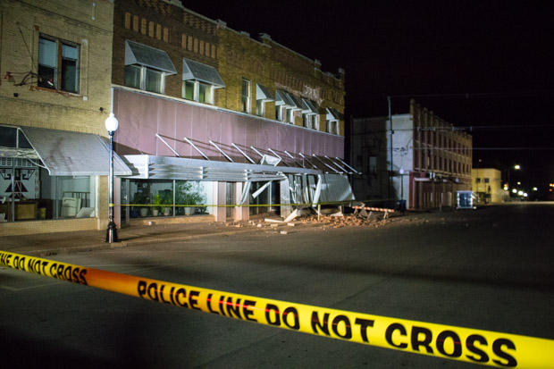 Earthquake damage in downtown Cushing after a 5.0 magnitude temblor struck the city November 6, 2016