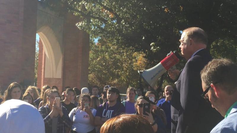 University of Oklahoma president David Boren addresses protestors and students Wednesday.