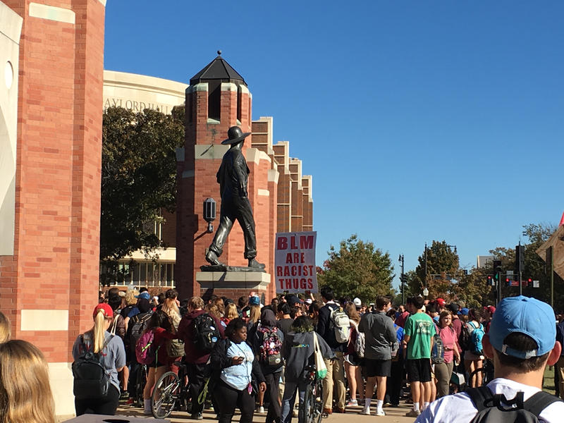 OU students react to anti-Black Lives Matter protestors.