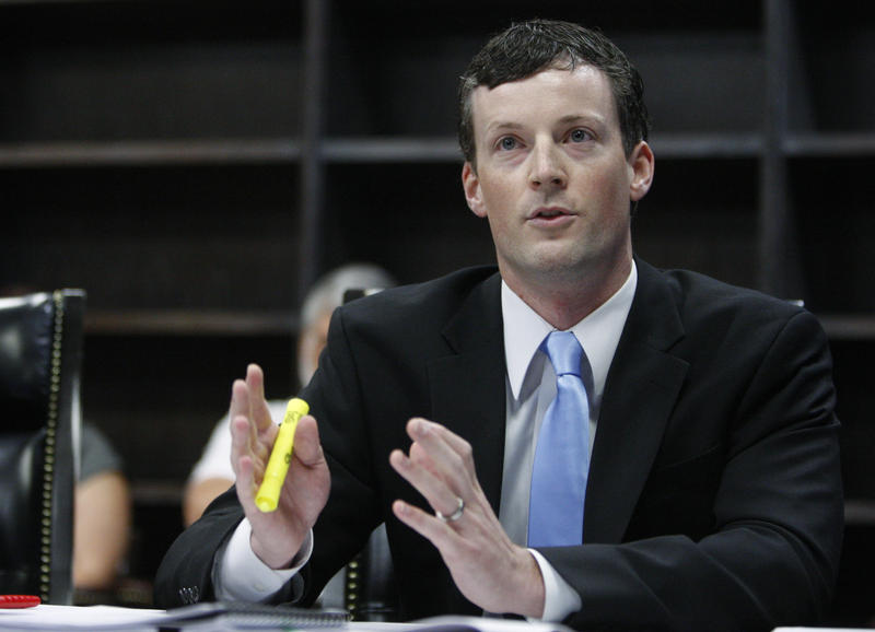 Patrick Wyrick, state solicitor general, gestures as he speaks during an Oklahoma Supreme Court hearing in Oklahoma City, Tuesday, June 21, 2011.