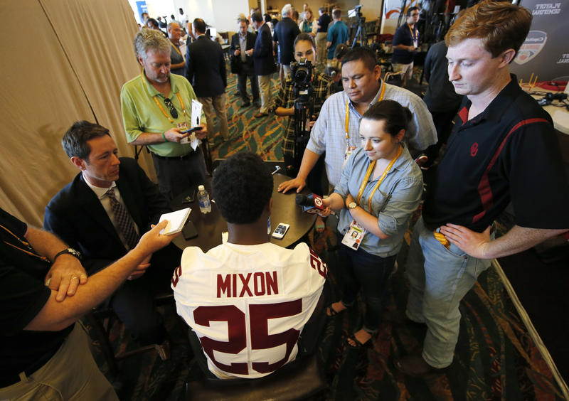 University of Oklahoma running back Joe Mixon speaks with reporters during the media day for the Orange Bowl at Sun Life Stadium Dec. 29, 2015, in Miami Gardens, Fla., two days before OU played Clemson University.