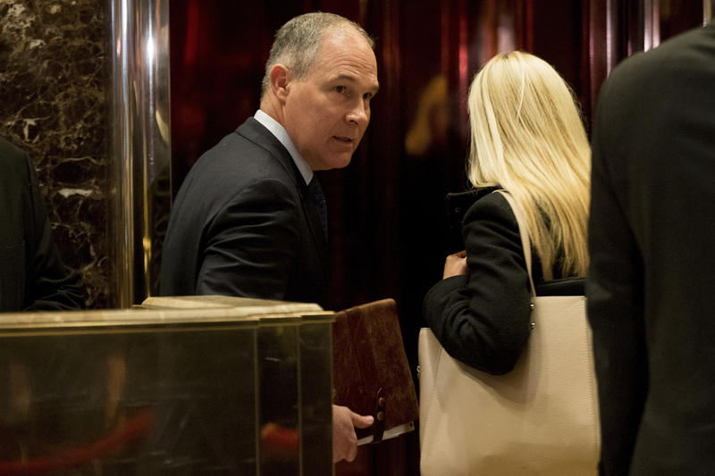 Oklahoma Attorney General Scott Pruitt arrives at Trump Tower in New York on December 7, 2016.