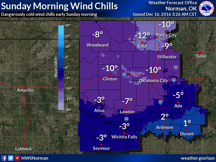 Dangerous wind chill values are expected late Saturday night into Sunday morning. Minimum wind chills early Sunday morning will range from around -10 F in northern and central Oklahoma to a few degrees above 0 F in south-central and southeast Oklahoma.