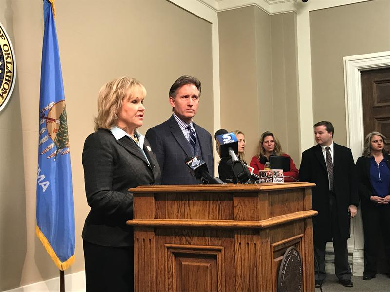 Oklahoma Gov. Mary Fallin and Oklahoma Secretary of State Michael Hunter address the media after the state's electors cast their on Dec. 19, 2016.