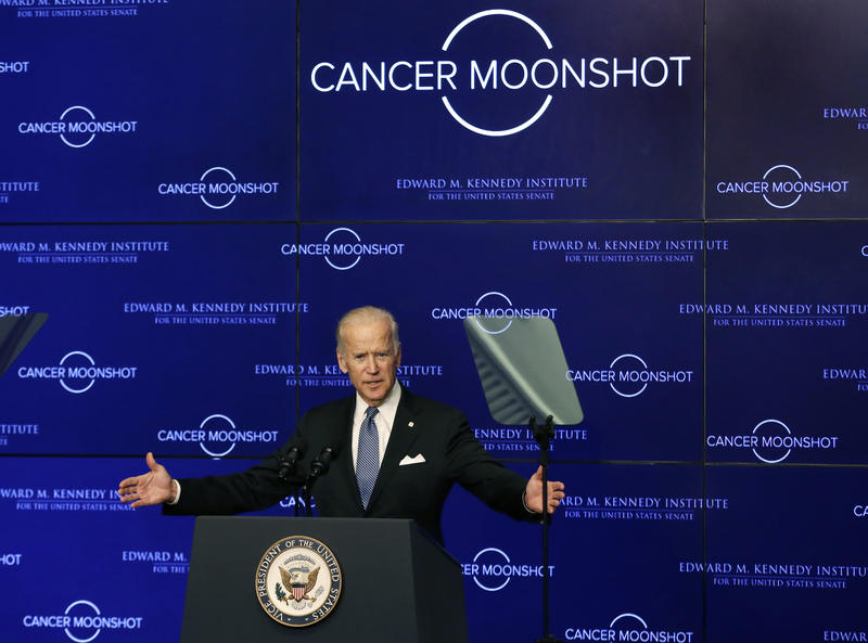"Vice President Joe Biden speaks at the Edward M. Kennedy Institute for the United States Senate, Oct. 19, 2016 in Boston, about the White House's cancer ""moonshot"" initiative — a push to throw everything at finding a cure within five years."