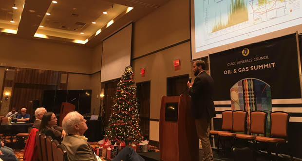 Shane Matson, with BlueJacket Energy, addresses Osage Nation members, oil and gas producers and staff from federal regulatory agencies during the Osage Minerals Council's Oil and Gas Summit Wednesday at the Osage Casino Hotel in Skiatook.
