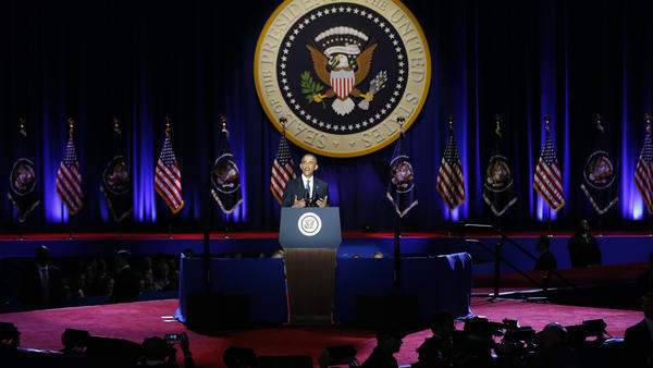 President Barack Obama speaks at McCormick Place in Chicago giving his presidential farewell address on Tuesday.