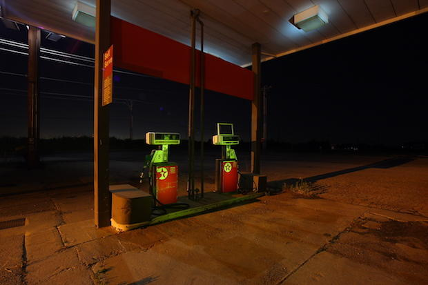 An abandoned gas station near Edmond, Oklahoma.