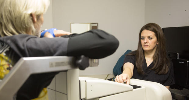 Shanna Burge begins a patient's radiology test at Southern Plains Medical Group in Chickasha.