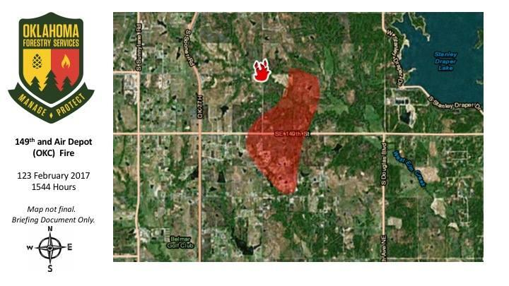Wildfire prompts evacuations in oklahoma city kgou map of the oklahoma city wildfire at 344 pm on february 12 2017 gumiabroncs Image collections