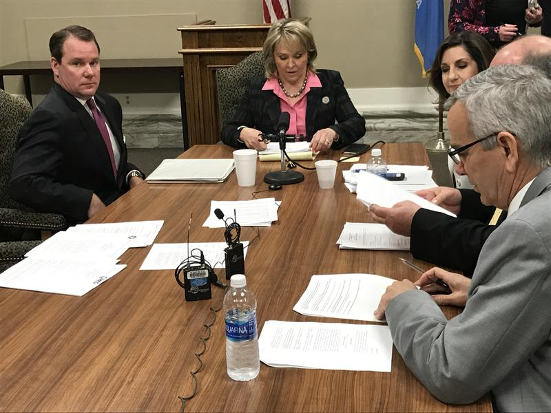 Lt. Gov. Todd Lamb and Gov.  Mary Fallin at the Board of Equalization meeting on Feb. 21, 2017.