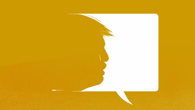 illustration of Trump's profile with speech bubble